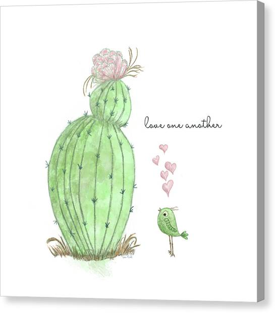 Succulent Canvas Print - Love One Another by Ramona Murdock