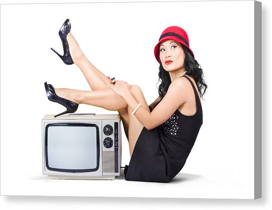 Bare Shoulder Canvas Print - Lovely Asian Pinup Girl Posing On Vintage Tv Set by Jorgo Photography - Wall Art Gallery