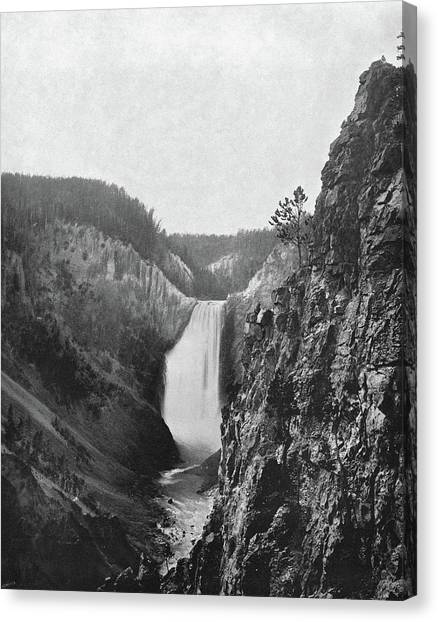 Great Falls Of Yellowstone Canvas Print - Lower Yellowstone Falls by Granger