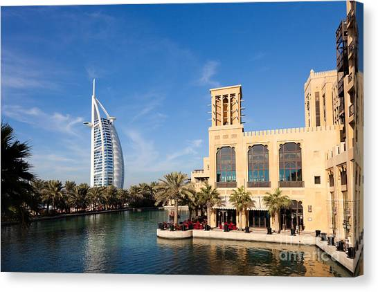 Dubai Skyline Canvas Print - Madinat Jumeira And Burj Al Arab In Dubai by Fototrav Print