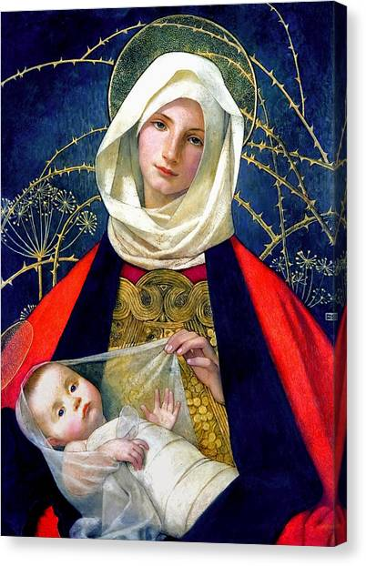 Virgin Mary Canvas Print - Madonna And Child by Marianne Stokes