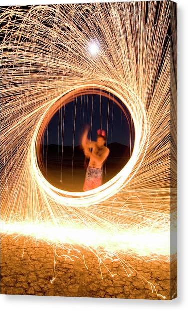 Black Rock Desert Canvas Print - Male Adult Spinning Fire With A Full by Ian Austin