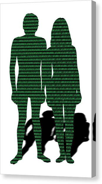 Computer Science Canvas Print - Male And Female With Binary Code by Victor De Schwanberg