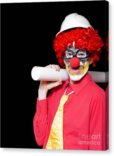 Contractors Canvas Print - Male Architect Clown Holding Bad Construction Plan by Jorgo Photography - Wall Art Gallery
