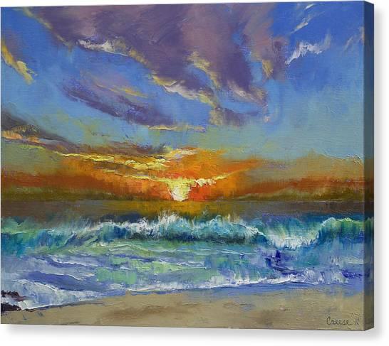Beach Sunset Canvas Print - Malibu Beach Sunset by Michael Creese