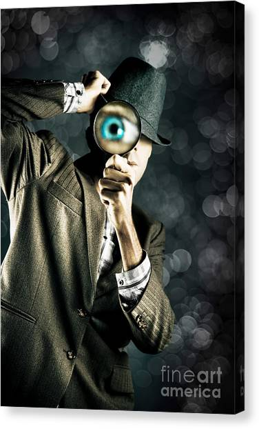 Scouting Canvas Print - Man Looking Through Magnifying Glass by Jorgo Photography - Wall Art Gallery