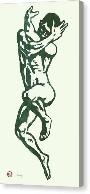 Reference Canvas Print - Man Nude Pop Stylised Etching Art Poster  by Kim Wang