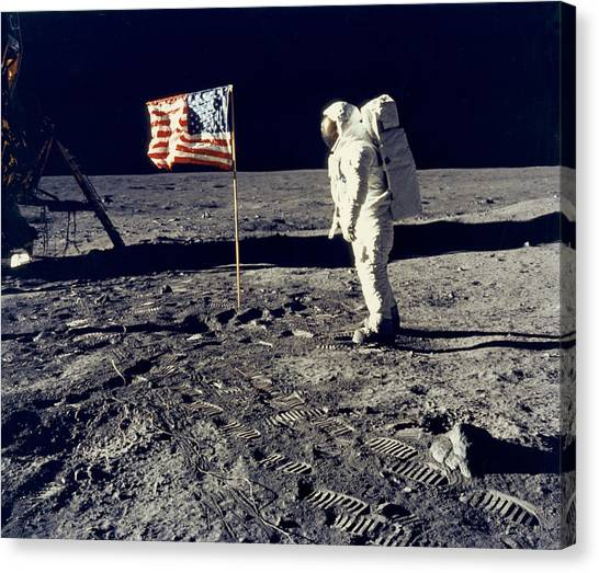 Astronauts Canvas Print - Man On The Moon by Neil Armstrong/Underwood Archive