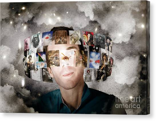 Computer Science Canvas Print - Man Streaming Media With Cloud Server Informatics by Jorgo Photography - Wall Art Gallery