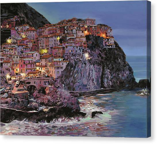 Oil On Canvas Print - Manarola At Dusk by Guido Borelli