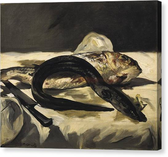 Still Life With Fish Canvas Print - Manet, �douard 1832-1883. Still Life by Everett