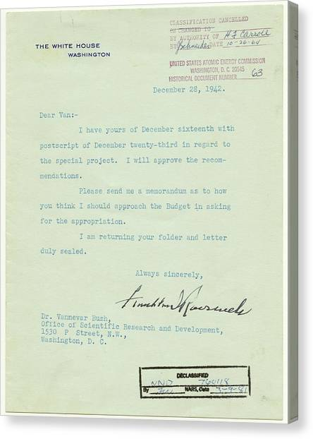 Franklin D. Roosevelt Canvas Print - Manhatten Project Letter by Nara/science Photo Library