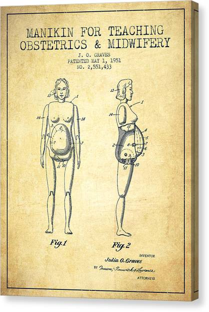 Pregnancy Canvas Print - Manikin For Teaching Obstetrics And Midwifery Patent From 1951 - by Aged Pixel