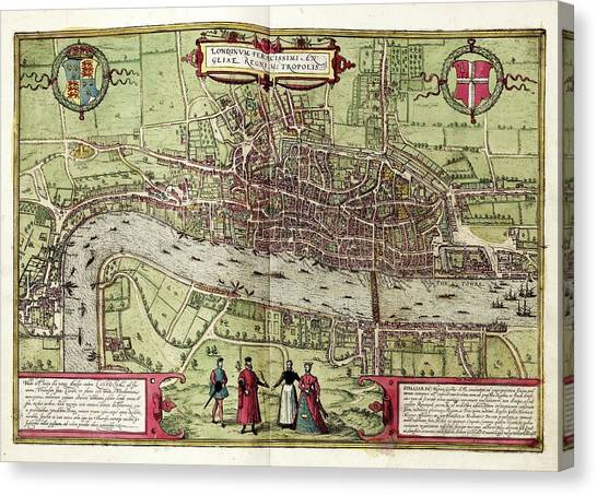 Tower Of London Canvas Print - Map Of London by Library Of Congress, Geography And Map Division