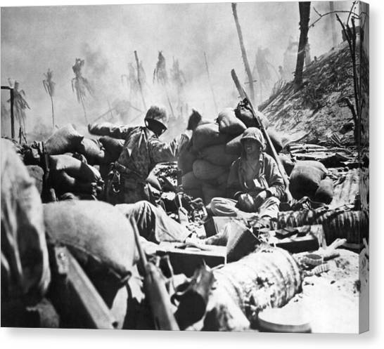 Grenades Canvas Print - Marines Fight At Tarawa by Underwood Archives