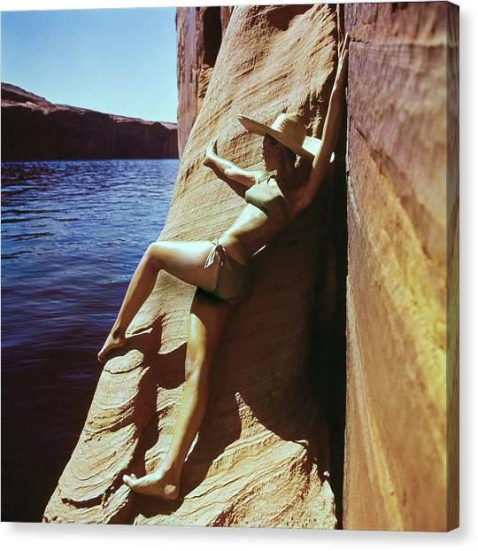 Marisa Berenson Wearing A Catalina Bikini Canvas Print by John Cowan