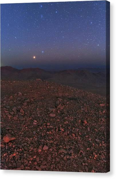 Atacama Desert Canvas Print - Mars In Opposition by Babak Tafreshi