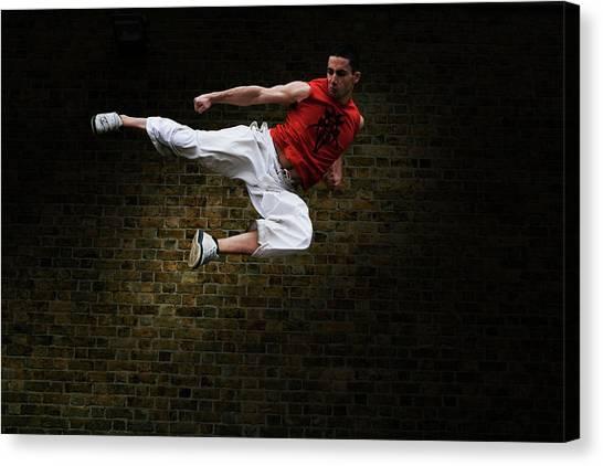Taekwondo Canvas Print - Martial Arts Kick by Gustoimages/science Photo Library