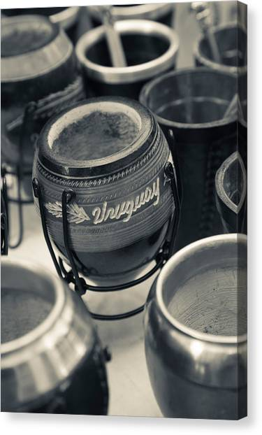 Fleas Canvas Print - Mate Cups At A Market Stall, Plaza by Panoramic Images