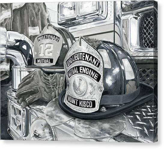 Volunteer Firefighter Canvas Print - Matts Helmet by Rich Alexander