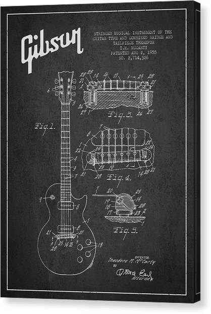 Acoustic Guitars Canvas Print - Mccarty Gibson Les Paul Guitar Patent Drawing From 1955 -  Dark by Aged Pixel