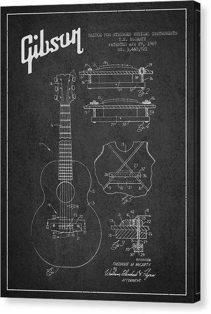 Acoustic Guitars Canvas Print - Mccarty Gibson Stringed Instrument Patent Drawing From 1969 - Dark by Aged Pixel