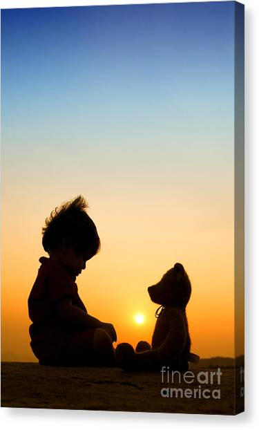 Boy Canvas Print - Me And My Bear by Tim Gainey