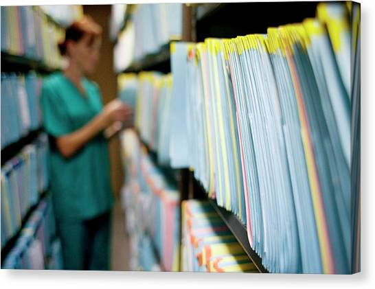 Folders Canvas Print - Medical Records by Ian Hooton/science Photo Library
