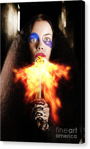 Breathe Canvas Print - Medieval Jester Breathing Fire During Carnival Act by Jorgo Photography - Wall Art Gallery