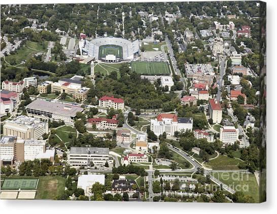 University Of Kansas Canvas Print - Memorial Stadium In Lawrence Kansas by Bill Cobb