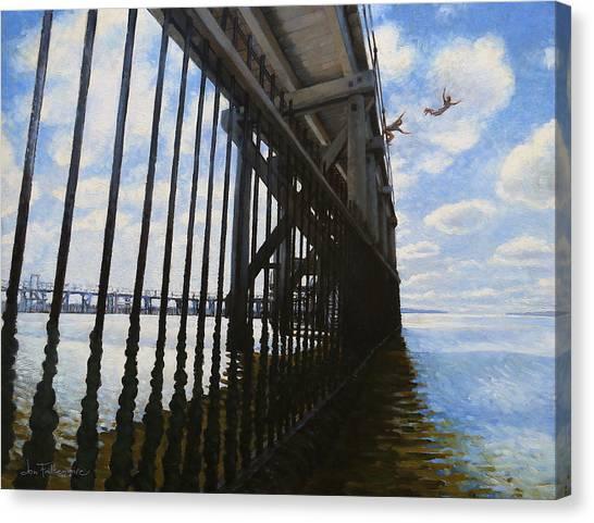Memories Of Brighton-le-sands Baths Canvas Print by Jon Falkenmire