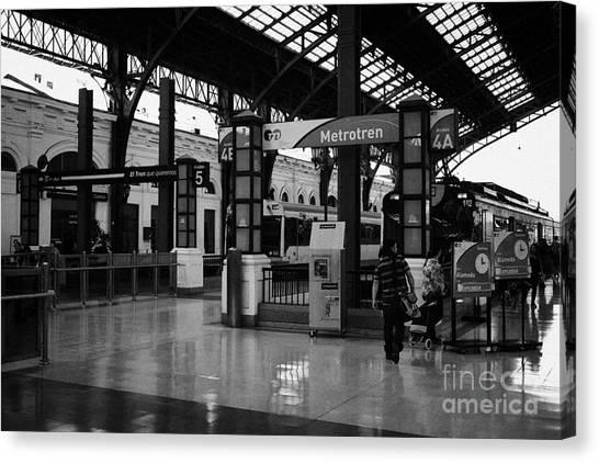 metrotren platforms in Santiago central railway station Chile Canvas Print by Joe Fox