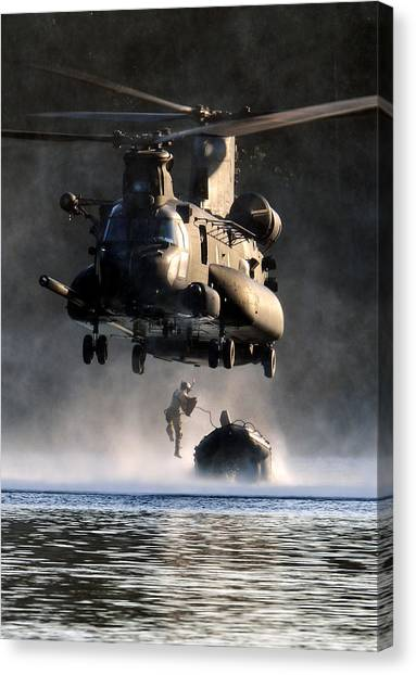Special Forces Canvas Print - Mh-47 Chinook Helicopter by Celestial Images