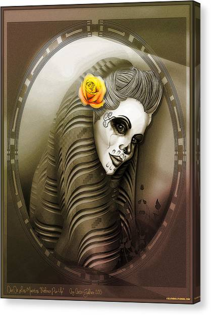 Dia Del Muerto Canvas Print - Mi Rebozo Pin-up by Alberto Galvez
