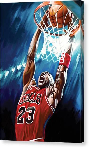 Basketball Players Canvas Print - Michael Jordan Artwork by Sheraz A