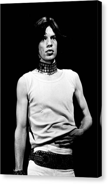 Mick Jagger Canvas Print - Mick Jagger 1968 Rolling Slomes by Chris Walter