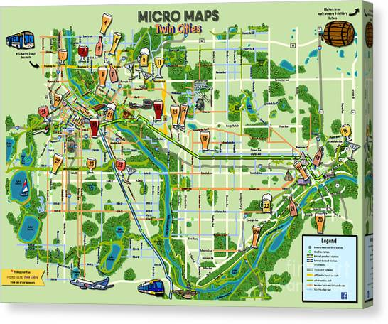 Micro Maps Twin Cities Canvas Print
