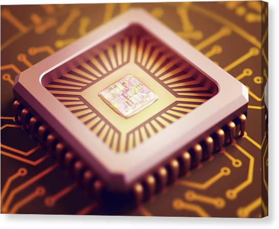 Computer Science Canvas Print - Microchip by Ktsdesign