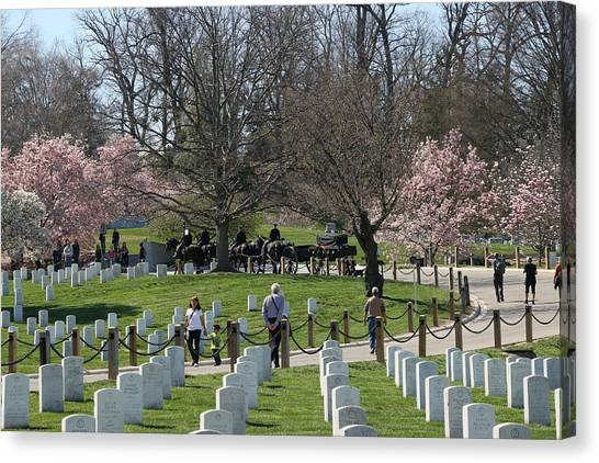 Fort Rosecrans National Cemetery Canvas Print - Military Funeral Honors by Allen Beatty