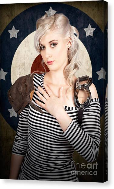 Star Alliance Canvas Print - Military Pin Up Woman Taking Airplane Pilot Oath by Jorgo Photography - Wall Art Gallery