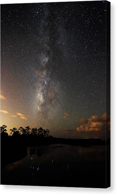 Canvas Print featuring the photograph Milky Way Over Vassey Creek by Jean Clark