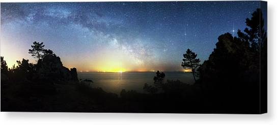 Saturn Canvas Print - Milky Way Rising Over A Coastline by Laurent Laveder