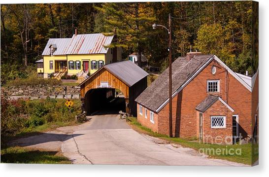 Mill Covered Bridge. Canvas Print