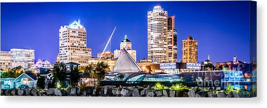 Lake Michigan Canvas Print - Milwaukee Skyline At Night Photo In Blue by Paul Velgos