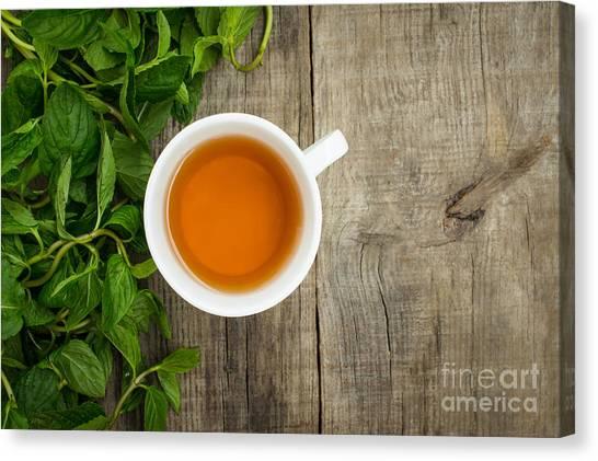 Tea Leaves Canvas Print - Mint Tea by Aged Pixel