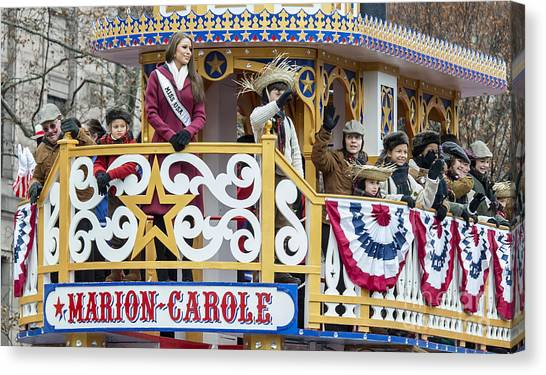 Macys Parade Canvas Print - Miss Usa On Marion-carole Showboat Float At Macy's Thanksgiving Day Parade by David Oppenheimer