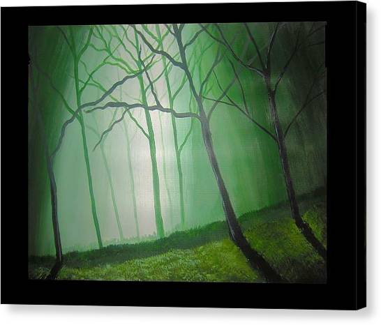 Misty Green Canvas Print by Haleema Nuredeen