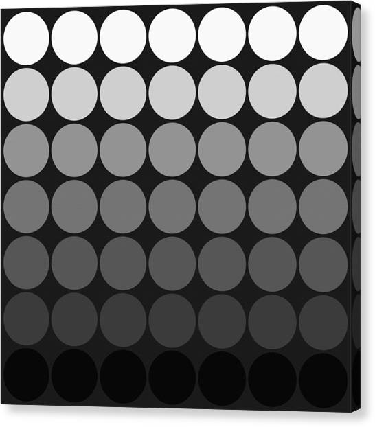 Mod Pop Gradient Circles Black And White Canvas Print