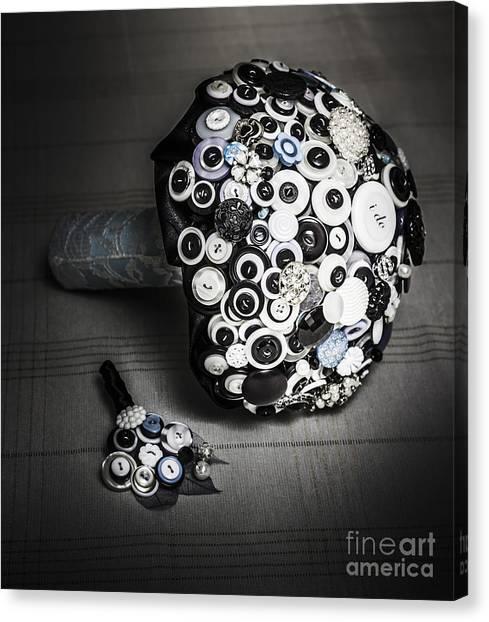 Wedding Bouquet Canvas Print - Modern Button Design Wedding Bouquet by Jorgo Photography - Wall Art Gallery