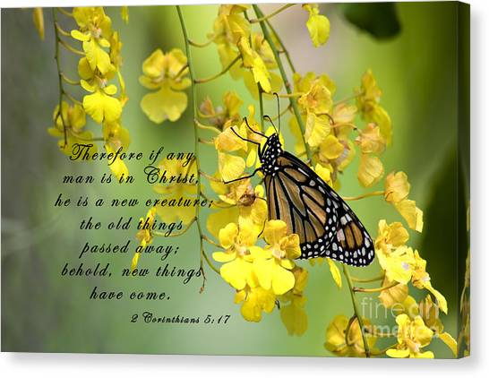 Monarch Butterfly With Scripture Canvas Print